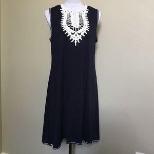 NWT $98 MAX STUDIO navy Ivory lace knit dress M